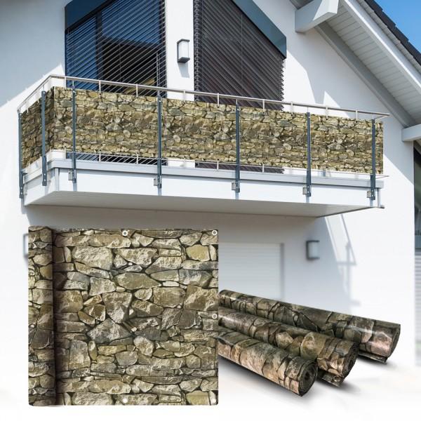 Pvc Balkon Sichtschutz Sichtschutzfolie Stein 6x0 75m Heim